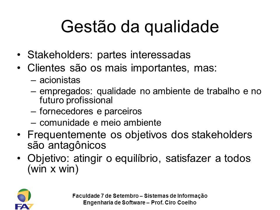 Faculdade 7 de Setembro – Sistemas de Informação Engenharia de Software – Prof. Ciro Coelho Gestão da qualidade Stakeholders: partes interessadas Clie
