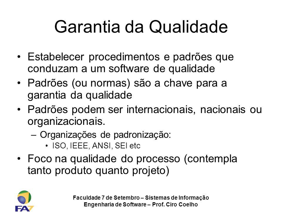 Faculdade 7 de Setembro – Sistemas de Informação Engenharia de Software – Prof. Ciro Coelho Garantia da Qualidade Estabelecer procedimentos e padrões
