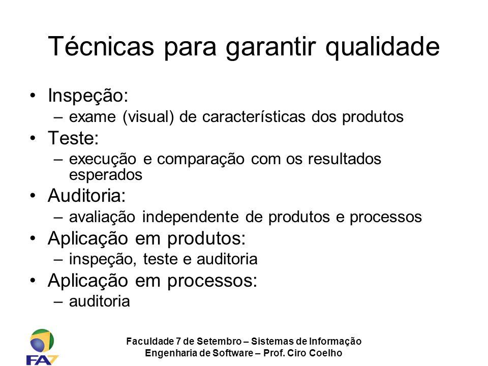 Faculdade 7 de Setembro – Sistemas de Informação Engenharia de Software – Prof. Ciro Coelho Técnicas para garantir qualidade Inspeção: –exame (visual)