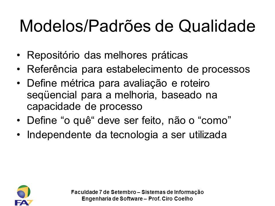 Faculdade 7 de Setembro – Sistemas de Informação Engenharia de Software – Prof. Ciro Coelho Modelos/Padrões de Qualidade Repositório das melhores prát