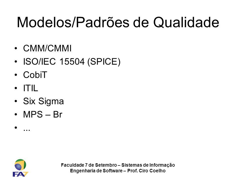 Faculdade 7 de Setembro – Sistemas de Informação Engenharia de Software – Prof. Ciro Coelho Modelos/Padrões de Qualidade CMM/CMMI ISO/IEC 15504 (SPICE
