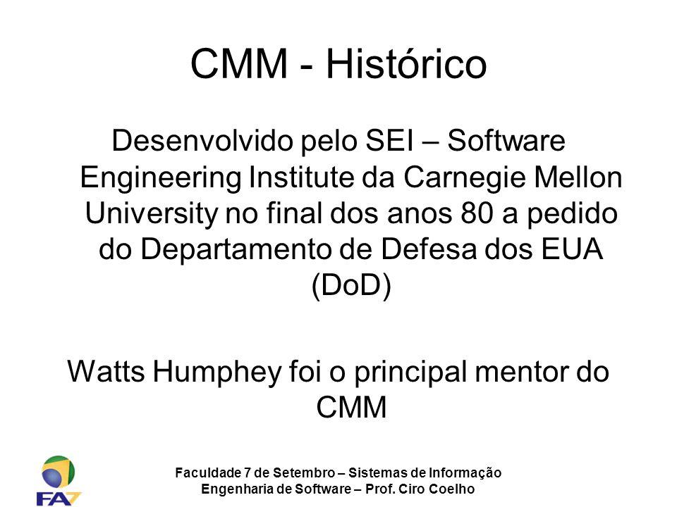 Faculdade 7 de Setembro – Sistemas de Informação Engenharia de Software – Prof. Ciro Coelho CMM - Histórico Desenvolvido pelo SEI – Software Engineeri