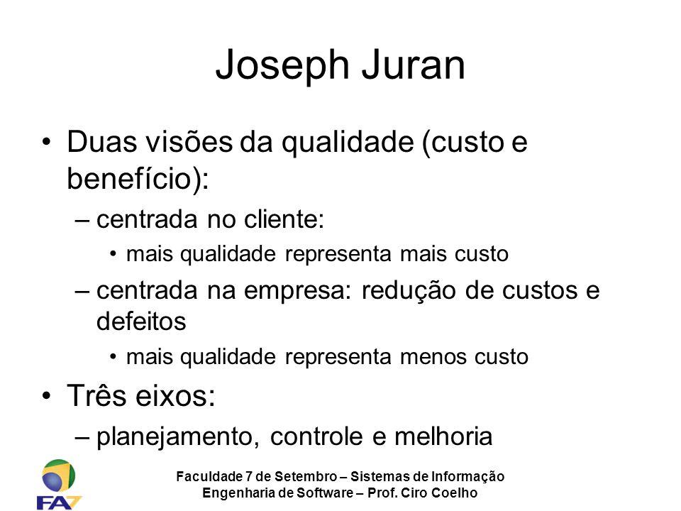 Faculdade 7 de Setembro – Sistemas de Informação Engenharia de Software – Prof. Ciro Coelho Joseph Juran Duas visões da qualidade (custo e benefício):
