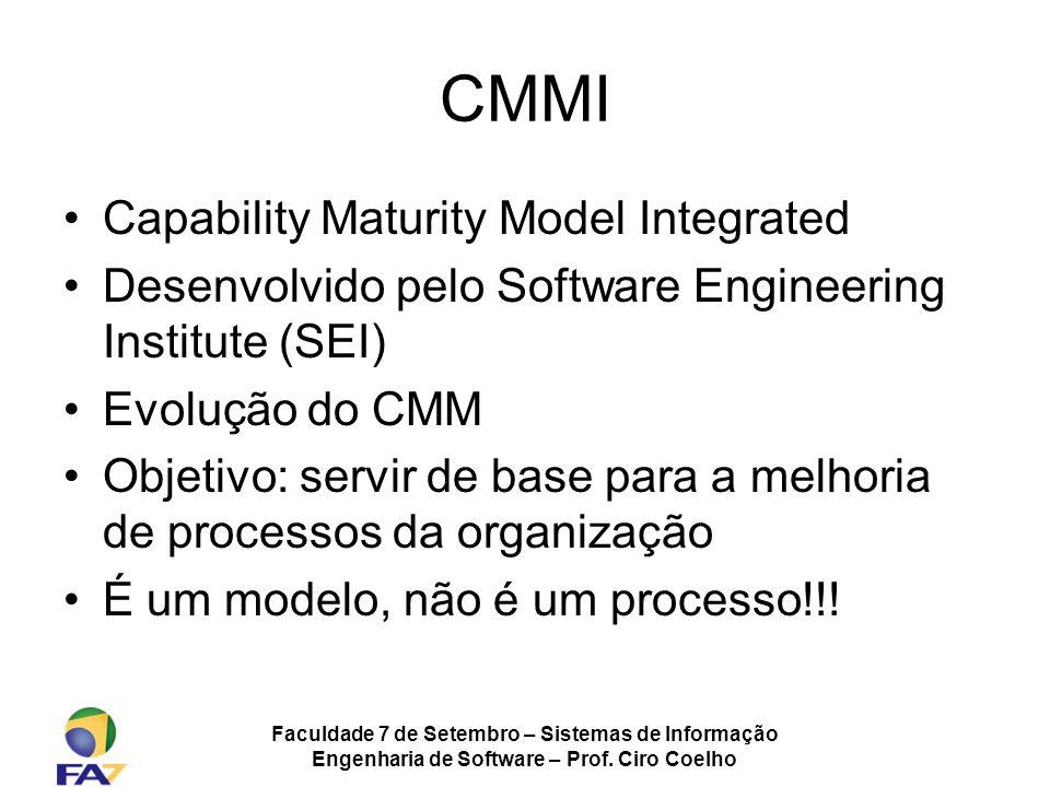 Faculdade 7 de Setembro – Sistemas de Informação Engenharia de Software – Prof. Ciro Coelho CMMI Capability Maturity Model Integrated Desenvolvido pel