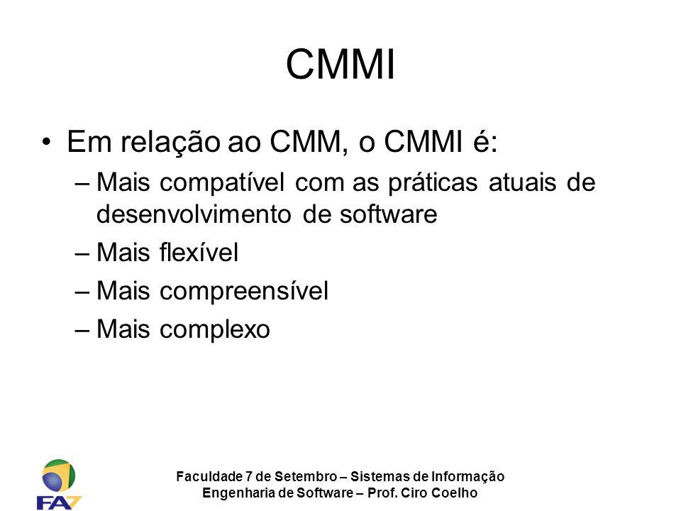 Faculdade 7 de Setembro – Sistemas de Informação Engenharia de Software – Prof. Ciro Coelho CMMI Em relação ao CMM, o CMMI é: –Mais compatível com as