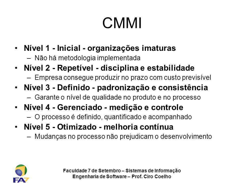 Faculdade 7 de Setembro – Sistemas de Informação Engenharia de Software – Prof. Ciro Coelho CMMI Nível 1 - Inicial - organizações imaturas –Não há met