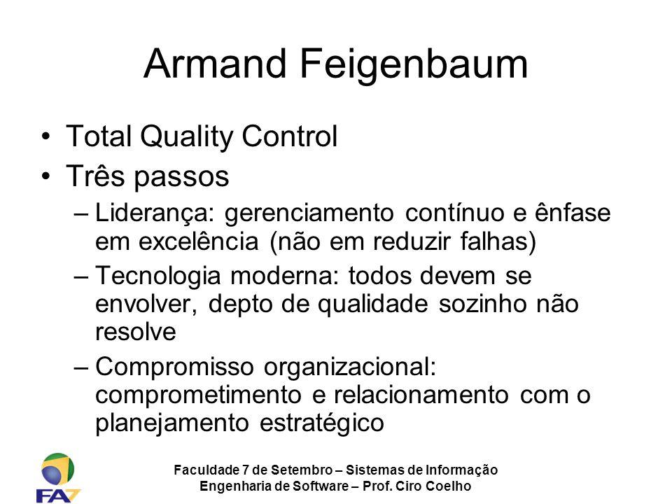 Faculdade 7 de Setembro – Sistemas de Informação Engenharia de Software – Prof. Ciro Coelho Armand Feigenbaum Total Quality Control Três passos –Lider