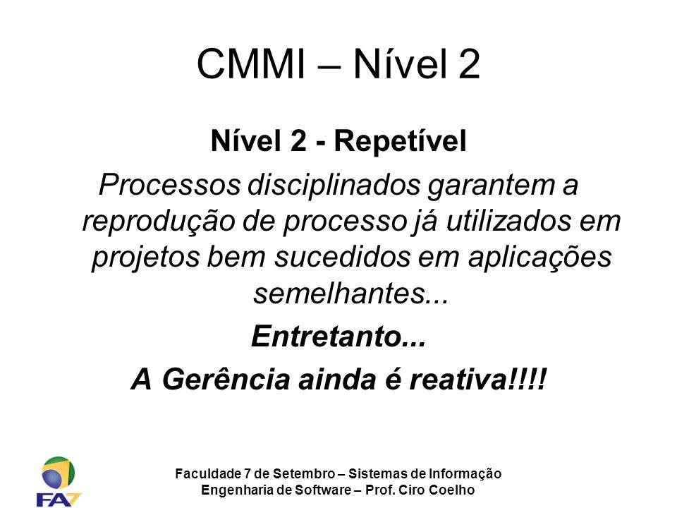 Faculdade 7 de Setembro – Sistemas de Informação Engenharia de Software – Prof. Ciro Coelho CMMI – Nível 2 Nível 2 - Repetível Processos disciplinados
