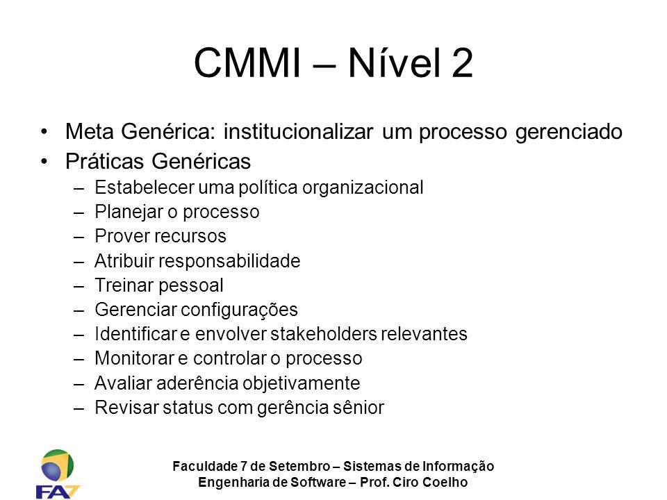 Faculdade 7 de Setembro – Sistemas de Informação Engenharia de Software – Prof. Ciro Coelho CMMI – Nível 2 Meta Genérica: institucionalizar um process