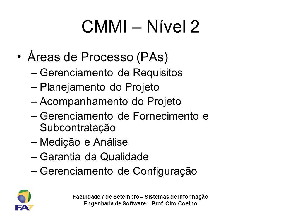 Faculdade 7 de Setembro – Sistemas de Informação Engenharia de Software – Prof. Ciro Coelho CMMI – Nível 2 Áreas de Processo (PAs) –Gerenciamento de R