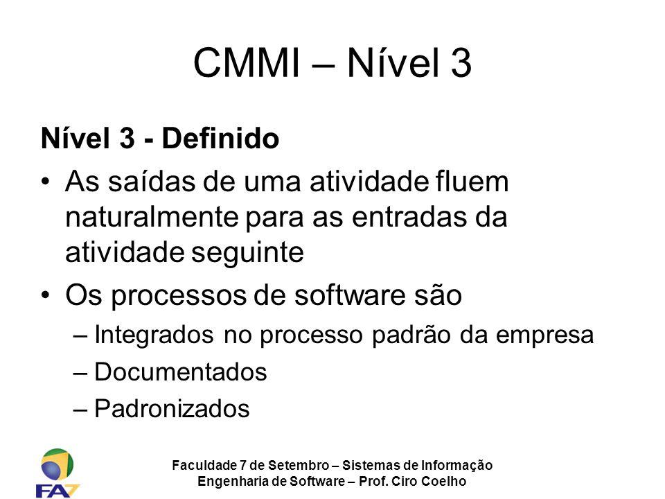 Faculdade 7 de Setembro – Sistemas de Informação Engenharia de Software – Prof. Ciro Coelho CMMI – Nível 3 Nível 3 - Definido As saídas de uma ativida