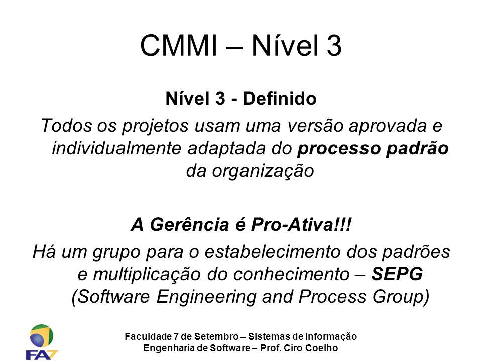 Faculdade 7 de Setembro – Sistemas de Informação Engenharia de Software – Prof. Ciro Coelho CMMI – Nível 3 Nível 3 - Definido Todos os projetos usam u