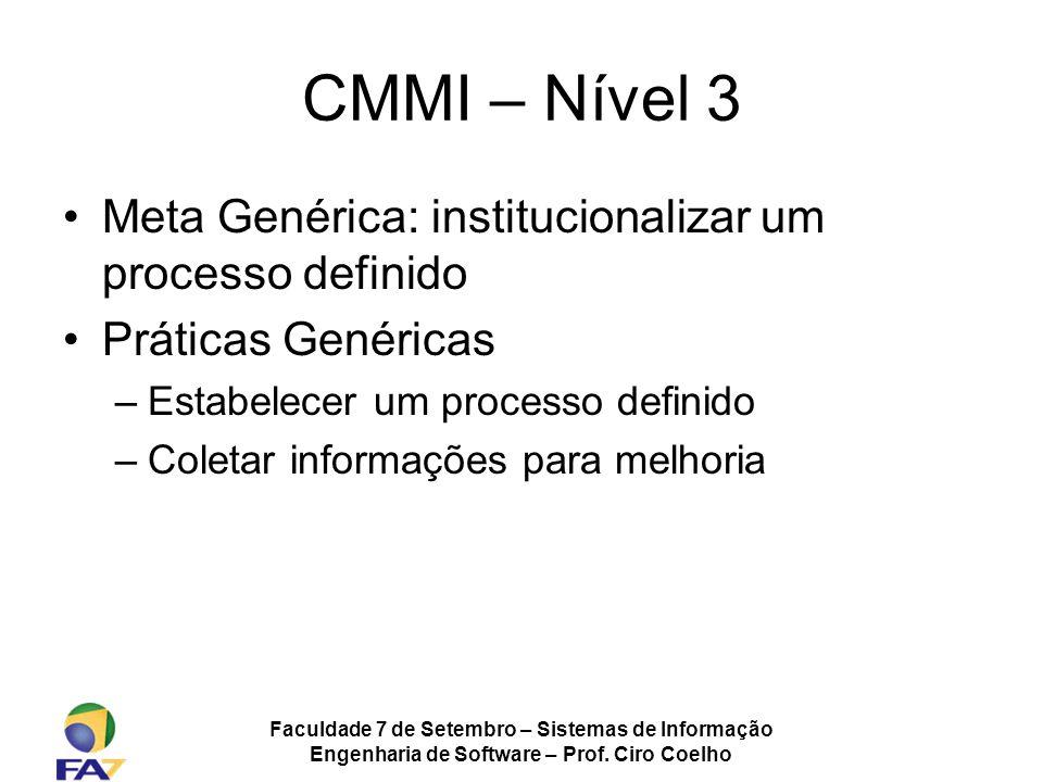 Faculdade 7 de Setembro – Sistemas de Informação Engenharia de Software – Prof. Ciro Coelho CMMI – Nível 3 Meta Genérica: institucionalizar um process