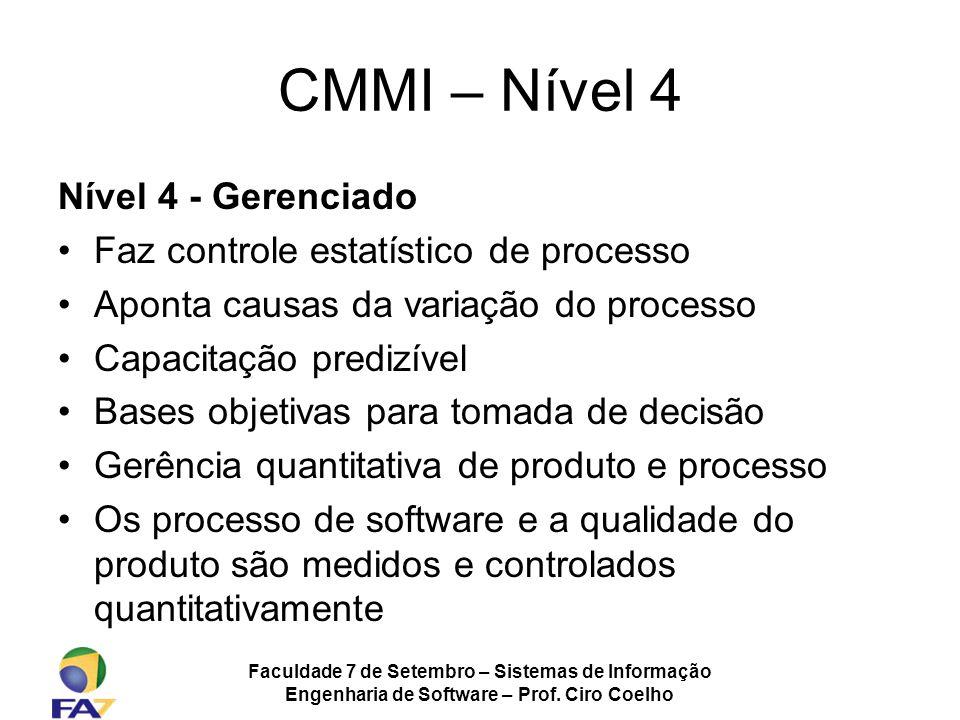 Faculdade 7 de Setembro – Sistemas de Informação Engenharia de Software – Prof. Ciro Coelho CMMI – Nível 4 Nível 4 - Gerenciado Faz controle estatísti