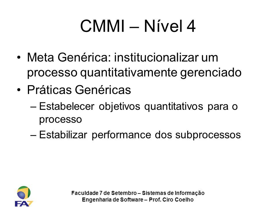 Faculdade 7 de Setembro – Sistemas de Informação Engenharia de Software – Prof. Ciro Coelho CMMI – Nível 4 Meta Genérica: institucionalizar um process
