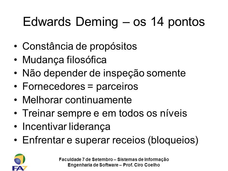 Faculdade 7 de Setembro – Sistemas de Informação Engenharia de Software – Prof. Ciro Coelho Edwards Deming – os 14 pontos Constância de propósitos Mud