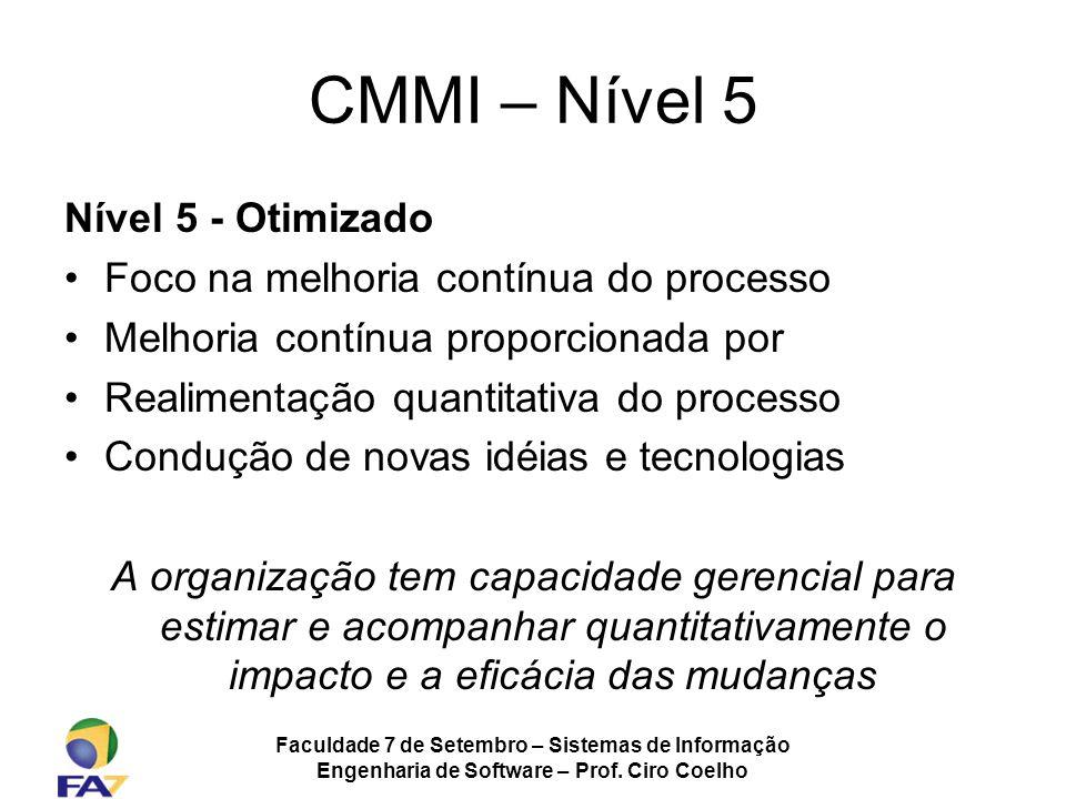 Faculdade 7 de Setembro – Sistemas de Informação Engenharia de Software – Prof. Ciro Coelho CMMI – Nível 5 Nível 5 - Otimizado Foco na melhoria contín