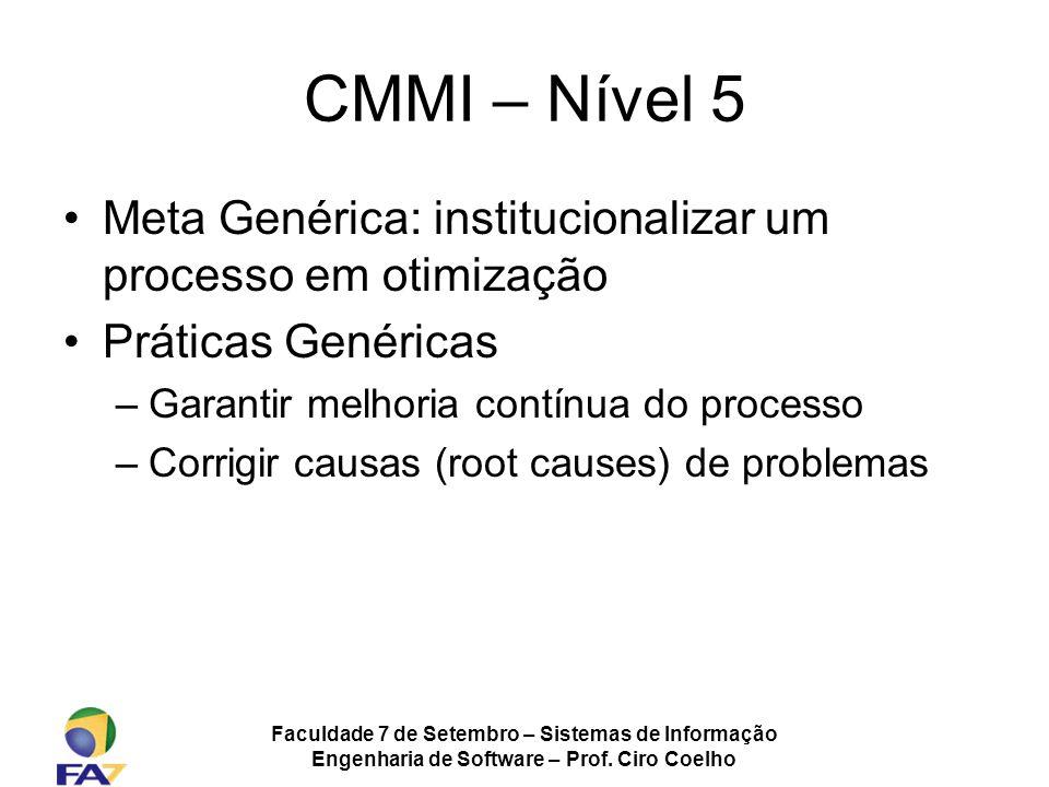 Faculdade 7 de Setembro – Sistemas de Informação Engenharia de Software – Prof. Ciro Coelho CMMI – Nível 5 Meta Genérica: institucionalizar um process