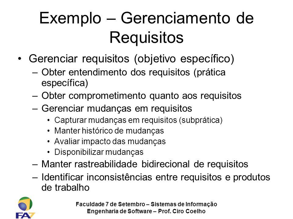 Faculdade 7 de Setembro – Sistemas de Informação Engenharia de Software – Prof. Ciro Coelho Exemplo – Gerenciamento de Requisitos Gerenciar requisitos
