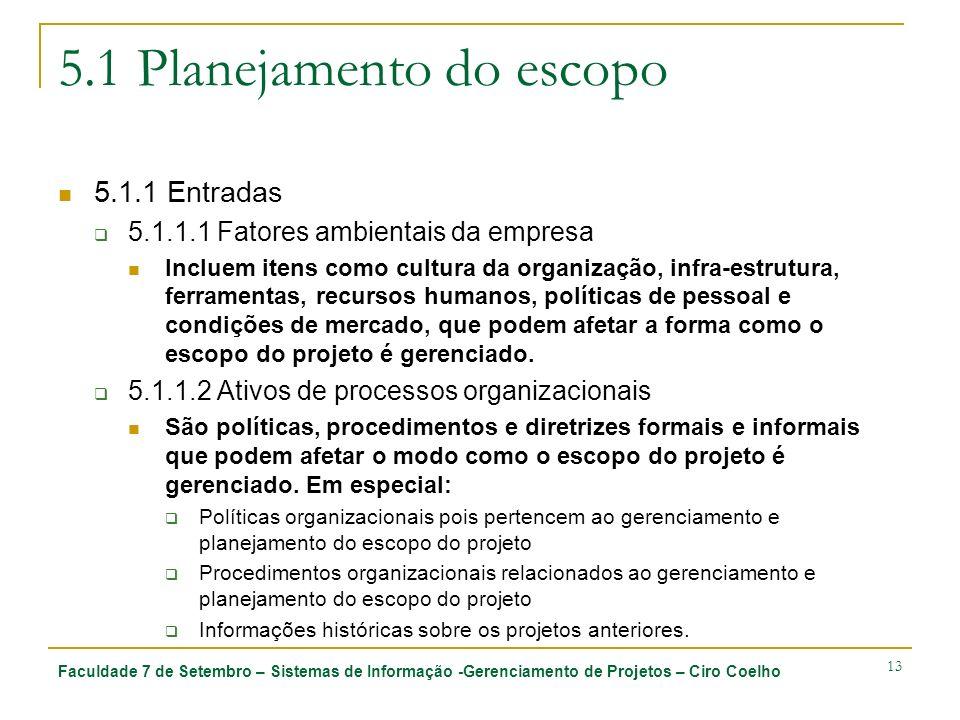 Faculdade 7 de Setembro – Sistemas de Informação -Gerenciamento de Projetos – Ciro Coelho 13 5.1 Planejamento do escopo 5.1.1 Entradas 5.1.1.1 Fatores