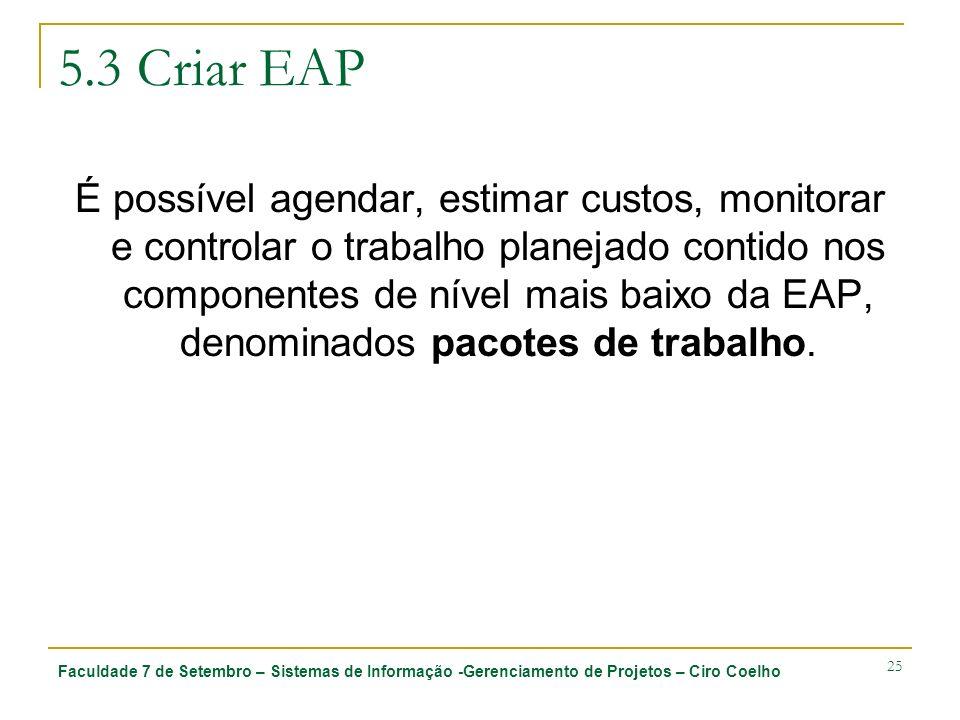 Faculdade 7 de Setembro – Sistemas de Informação -Gerenciamento de Projetos – Ciro Coelho 25 5.3 Criar EAP É possível agendar, estimar custos, monitor
