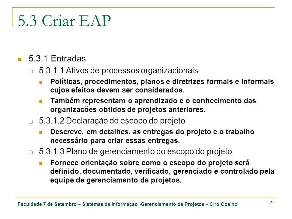 Faculdade 7 de Setembro – Sistemas de Informação -Gerenciamento de Projetos – Ciro Coelho 27 5.3 Criar EAP 5.3.1 Entradas 5.3.1.1 Ativos de processos