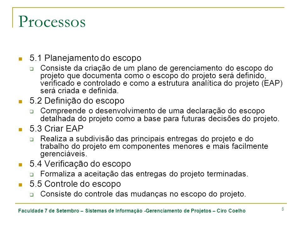 Faculdade 7 de Setembro – Sistemas de Informação -Gerenciamento de Projetos – Ciro Coelho 9 Processos Planejamento 5.1 Planejamento do escopo 5.2 Definição do escopo 5.3 Criar EAP Monitoramento e Controle 5.4 Verificação do escopo 5.5 Controle do Escopo