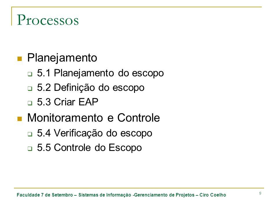 Faculdade 7 de Setembro – Sistemas de Informação -Gerenciamento de Projetos – Ciro Coelho 30 5.3 Criar EAP 5.3.2 Ferramentas e técnicas 5.3.2.2 Decomposição Atividades da decomposição: Identificação das entregas e do trabalho relacionado Estruturação e organização da EAP Decomposição dos níveis mais altos da EAP em componentes detalhados de nível mais baixo Desenvolvimento e atribuição de códigos de identificação aos componentes da EAP Verificar se o grau de decomposição do trabalho é necessário e suficiente.