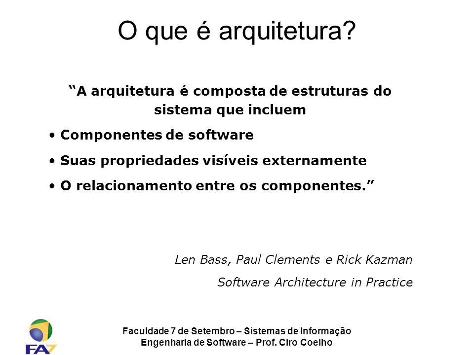 Faculdade 7 de Setembro – Sistemas de Informação Engenharia de Software – Prof. Ciro Coelho O que é arquitetura? A arquitetura é composta de estrutura