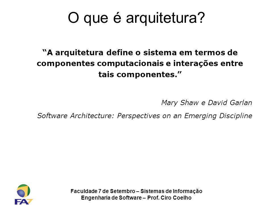 Faculdade 7 de Setembro – Sistemas de Informação Engenharia de Software – Prof. Ciro Coelho O que é arquitetura? A arquitetura define o sistema em ter