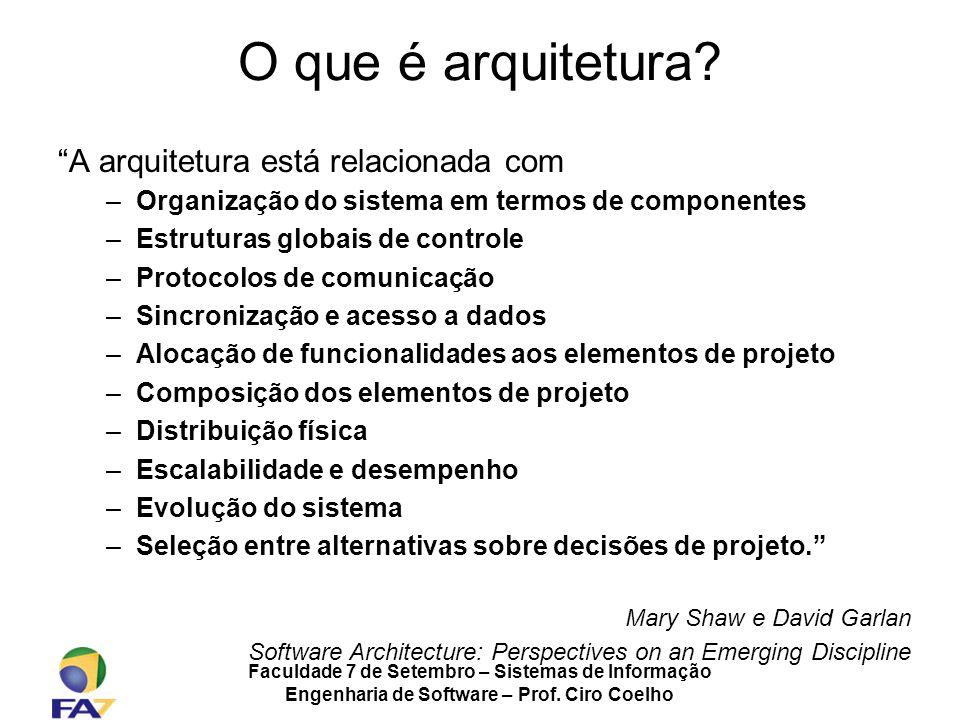 Faculdade 7 de Setembro – Sistemas de Informação Engenharia de Software – Prof. Ciro Coelho O que é arquitetura? A arquitetura está relacionada com –O