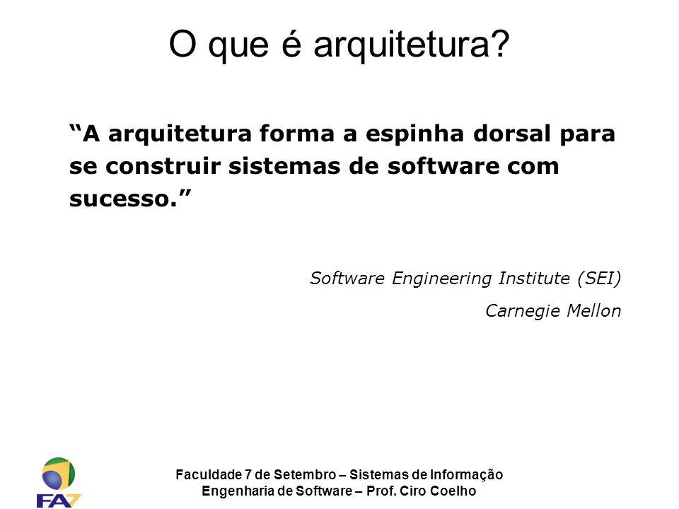 Faculdade 7 de Setembro – Sistemas de Informação Engenharia de Software – Prof. Ciro Coelho O que é arquitetura? A arquitetura forma a espinha dorsal