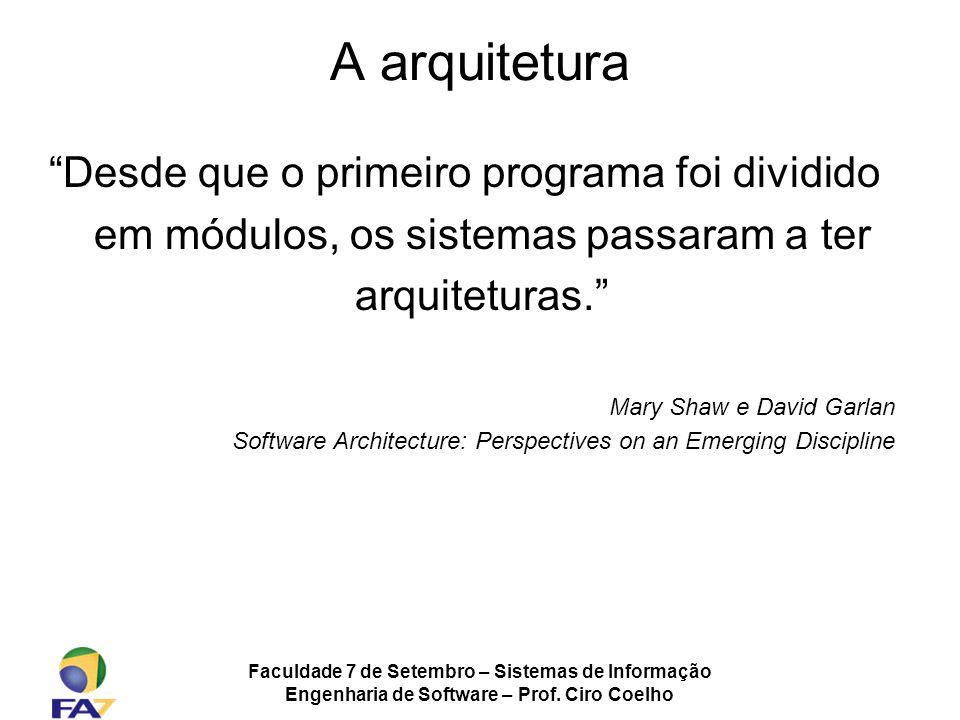 Faculdade 7 de Setembro – Sistemas de Informação Engenharia de Software – Prof. Ciro Coelho A arquitetura Desde que o primeiro programa foi dividido e