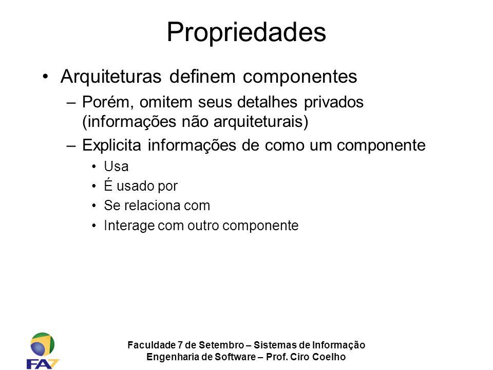 Faculdade 7 de Setembro – Sistemas de Informação Engenharia de Software – Prof. Ciro Coelho Propriedades Arquiteturas definem componentes –Porém, omit