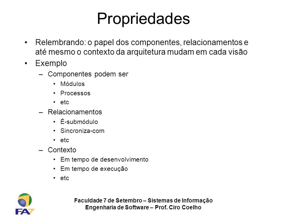 Faculdade 7 de Setembro – Sistemas de Informação Engenharia de Software – Prof. Ciro Coelho Propriedades Relembrando: o papel dos componentes, relacio