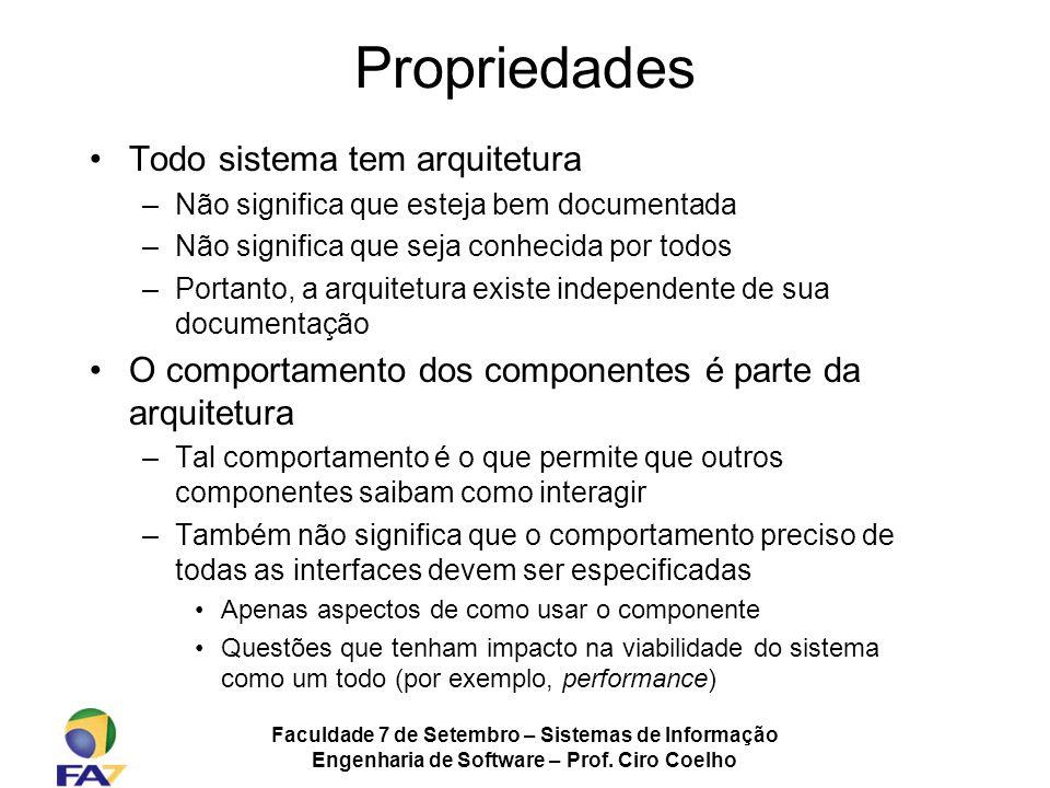 Faculdade 7 de Setembro – Sistemas de Informação Engenharia de Software – Prof. Ciro Coelho Propriedades Todo sistema tem arquitetura –Não significa q