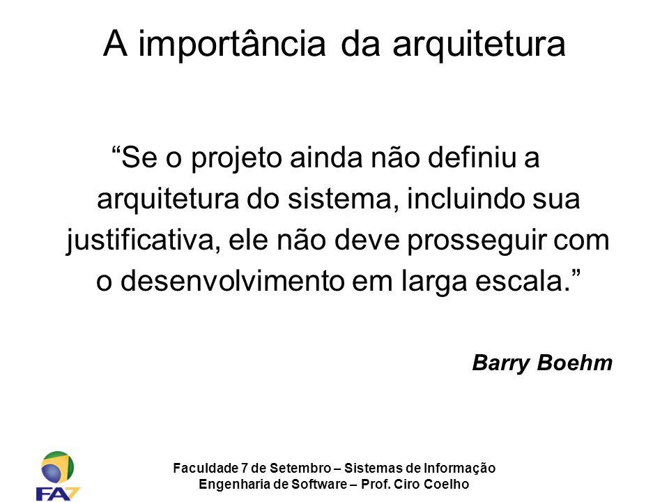 Faculdade 7 de Setembro – Sistemas de Informação Engenharia de Software – Prof. Ciro Coelho A importância da arquitetura Se o projeto ainda não defini