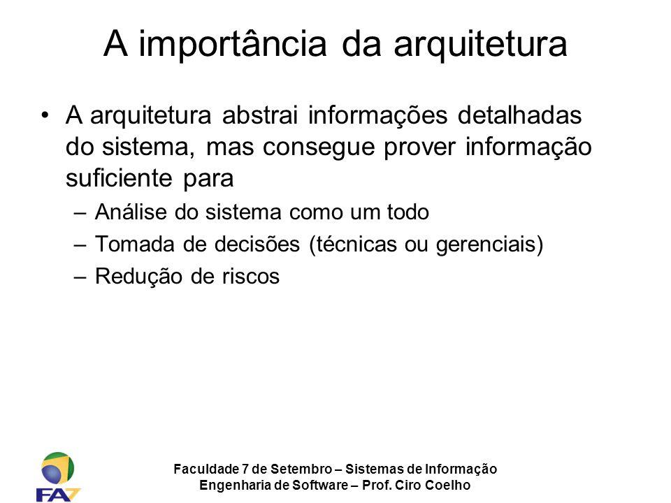 Faculdade 7 de Setembro – Sistemas de Informação Engenharia de Software – Prof. Ciro Coelho A importância da arquitetura A arquitetura abstrai informa
