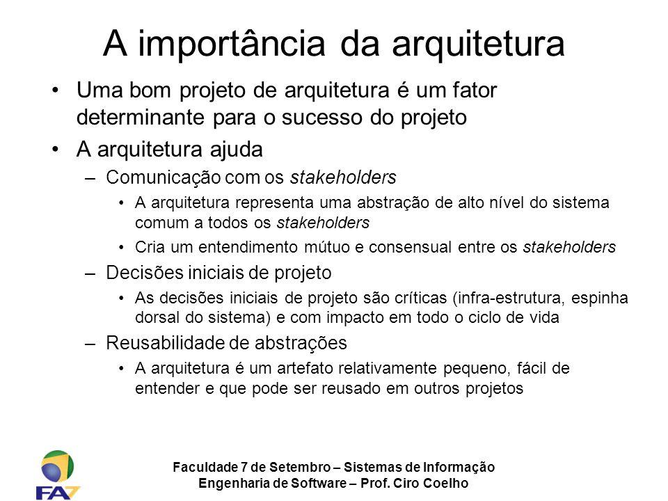 Faculdade 7 de Setembro – Sistemas de Informação Engenharia de Software – Prof. Ciro Coelho A importância da arquitetura Uma bom projeto de arquitetur