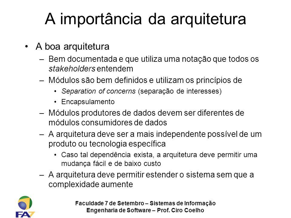 Faculdade 7 de Setembro – Sistemas de Informação Engenharia de Software – Prof. Ciro Coelho A importância da arquitetura A boa arquitetura –Bem docume