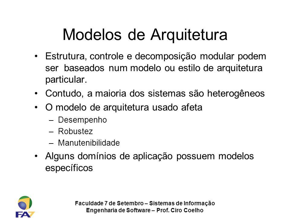 Faculdade 7 de Setembro – Sistemas de Informação Engenharia de Software – Prof. Ciro Coelho Modelos de Arquitetura Estrutura, controle e decomposição