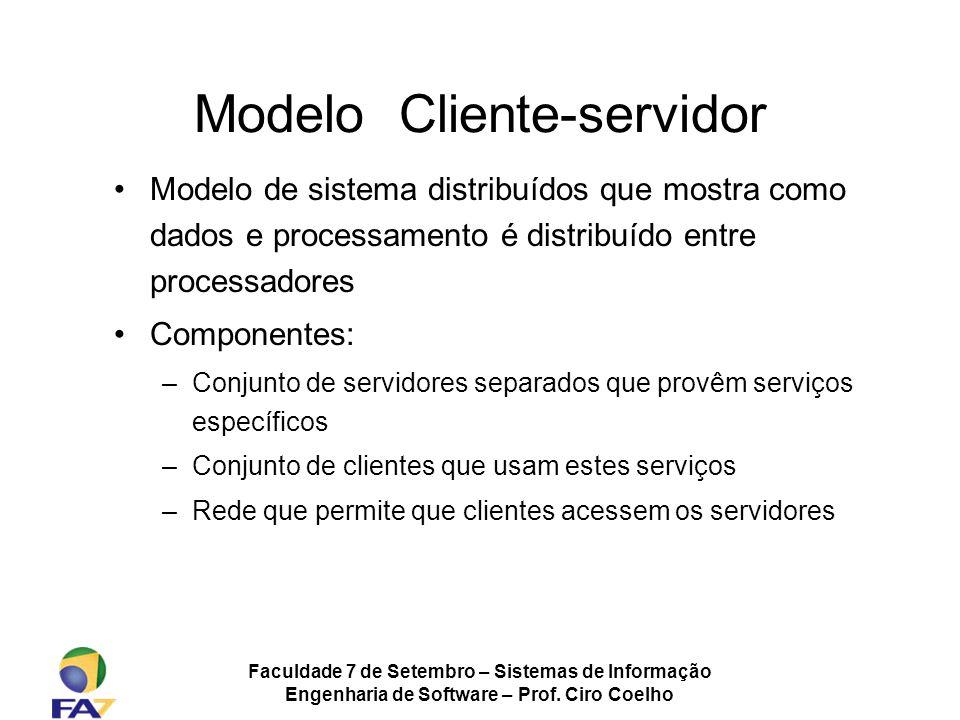 Faculdade 7 de Setembro – Sistemas de Informação Engenharia de Software – Prof. Ciro Coelho Modelo Cliente-servidor Modelo de sistema distribuídos que