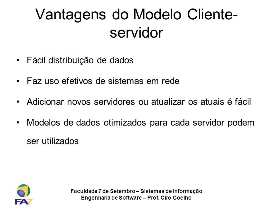 Faculdade 7 de Setembro – Sistemas de Informação Engenharia de Software – Prof. Ciro Coelho Vantagens do Modelo Cliente- servidor Fácil distribuição d