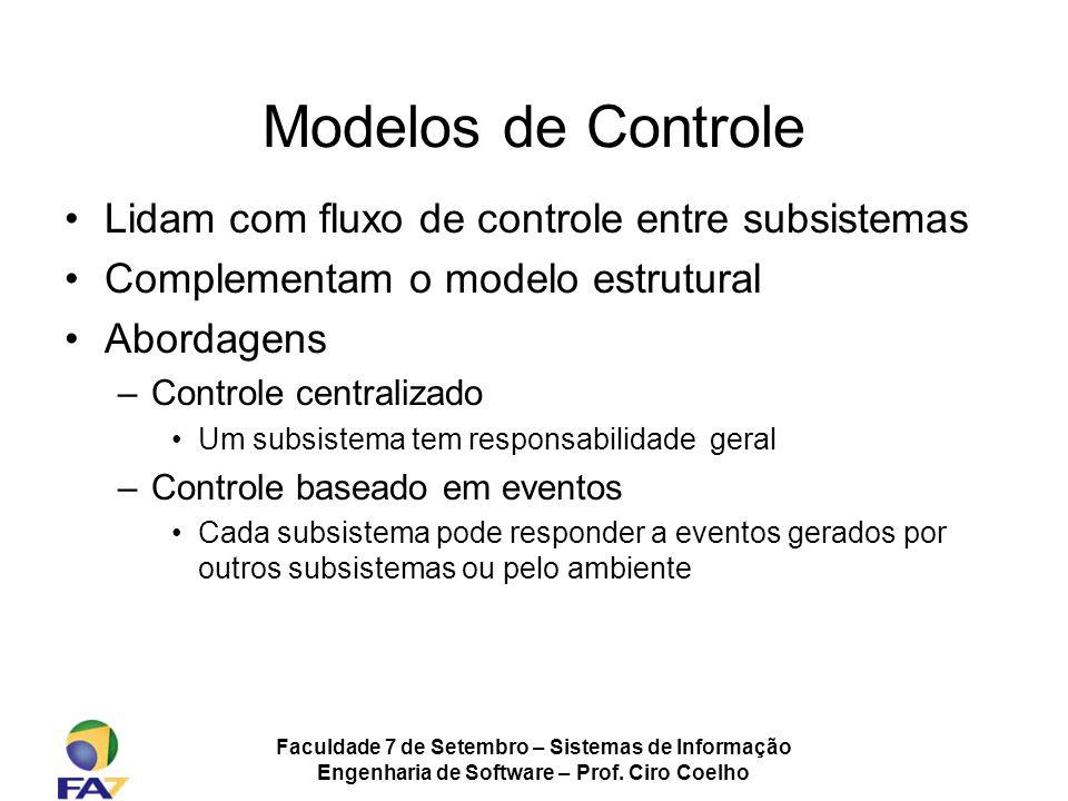 Faculdade 7 de Setembro – Sistemas de Informação Engenharia de Software – Prof. Ciro Coelho Modelos de Controle Lidam com fluxo de controle entre subs