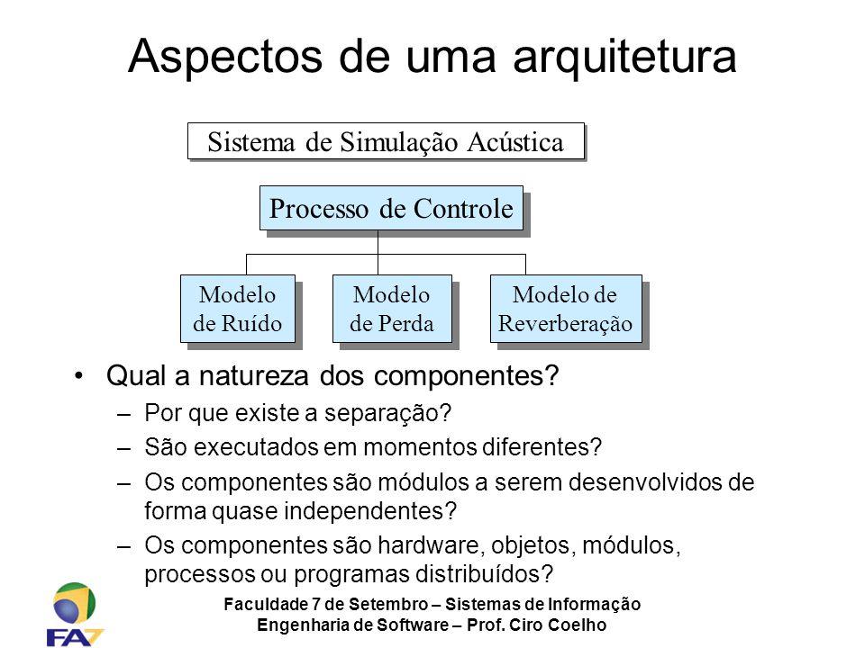 Faculdade 7 de Setembro – Sistemas de Informação Engenharia de Software – Prof. Ciro Coelho Aspectos de uma arquitetura Qual a natureza dos componente