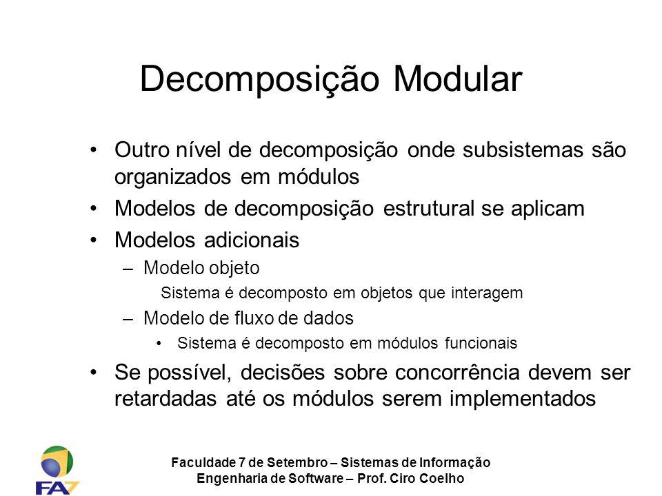 Faculdade 7 de Setembro – Sistemas de Informação Engenharia de Software – Prof. Ciro Coelho Decomposição Modular Outro nível de decomposição onde subs