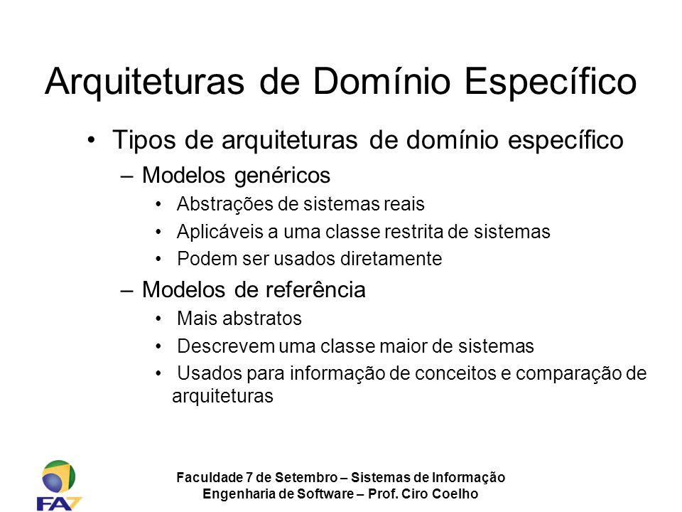Faculdade 7 de Setembro – Sistemas de Informação Engenharia de Software – Prof. Ciro Coelho Arquiteturas de Domínio Específico Tipos de arquiteturas d