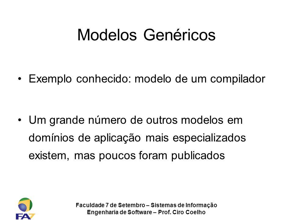 Faculdade 7 de Setembro – Sistemas de Informação Engenharia de Software – Prof. Ciro Coelho Modelos Genéricos Exemplo conhecido: modelo de um compilad