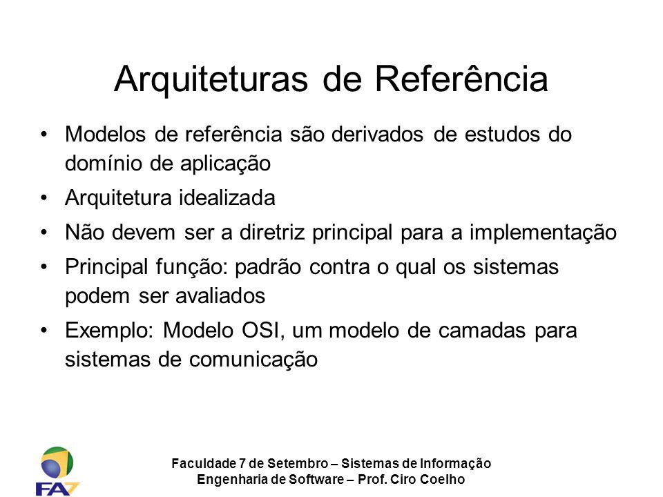 Faculdade 7 de Setembro – Sistemas de Informação Engenharia de Software – Prof. Ciro Coelho Arquiteturas de Referência Modelos de referência são deriv