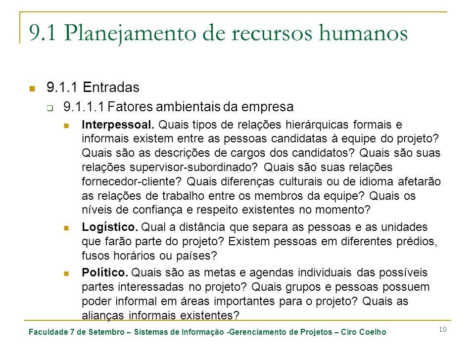 Faculdade 7 de Setembro – Sistemas de Informação -Gerenciamento de Projetos – Ciro Coelho 10 9.1 Planejamento de recursos humanos 9.1.1 Entradas 9.1.1